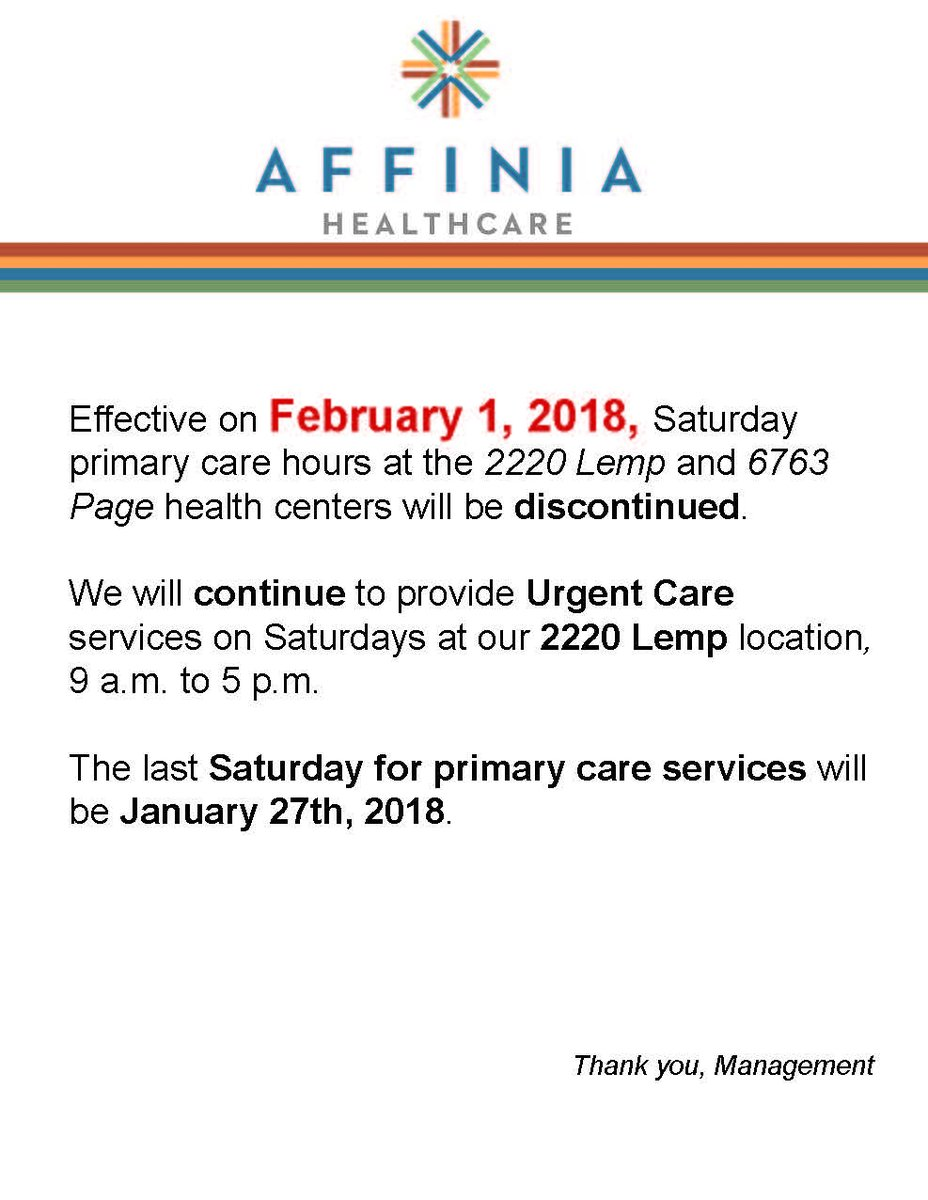 Affinia Healthcare On Twitter Notice Affiniahealth Change In