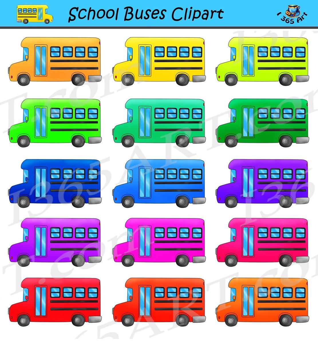"clipart 4 school on twitter: ""rainbow #school bus clipart set for"