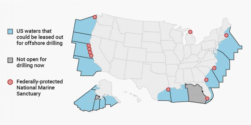 Here are all the areas of US ocean that the Trump administration wants to open to oil drilling https://t.co/sH2VyW1ogT