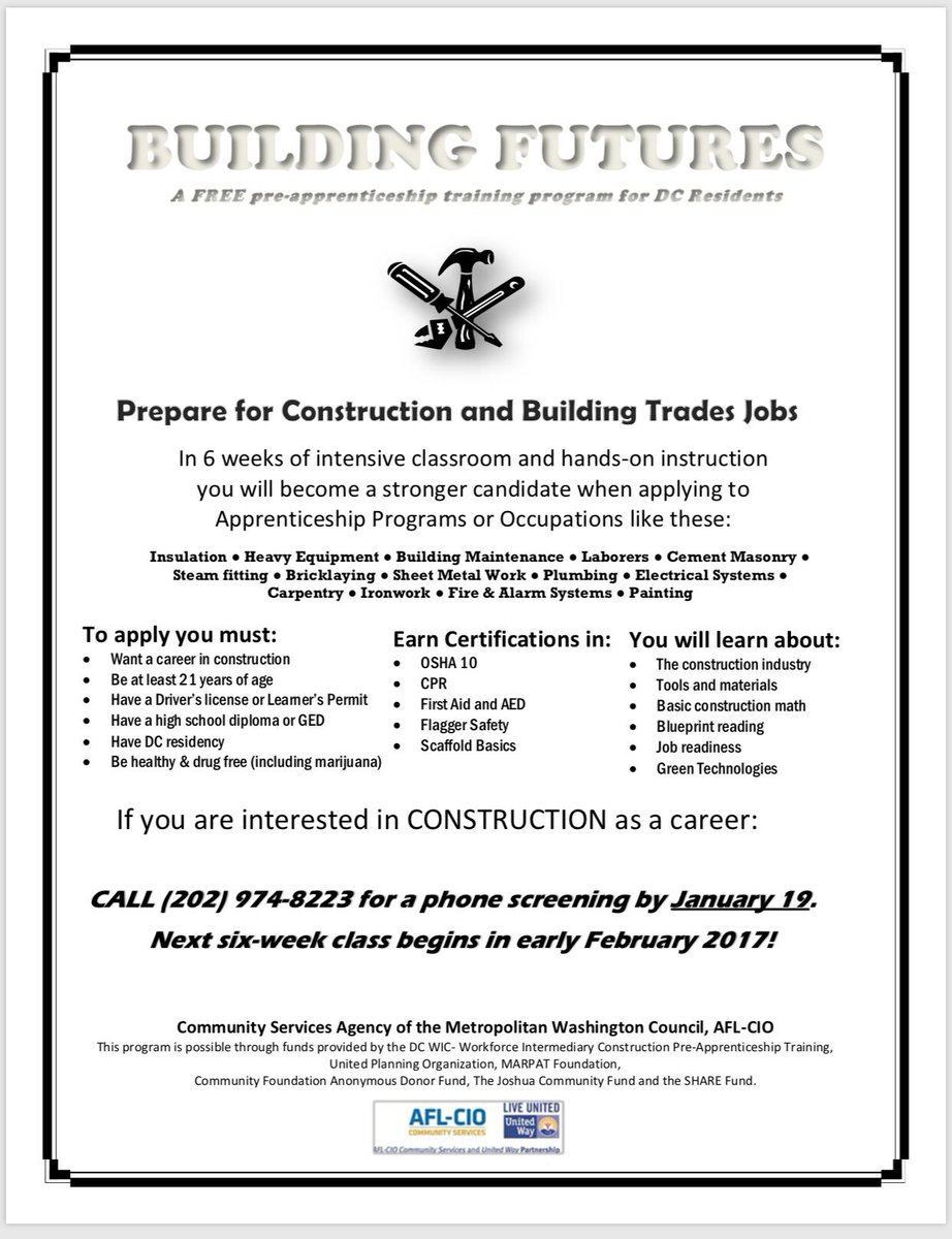 Tyrell m holcomb on twitter workforce development classes in the tyrell m holcomb on twitter workforce development classes in the construction field call 202 974 8223 before january 19th retweetshare malvernweather Image collections