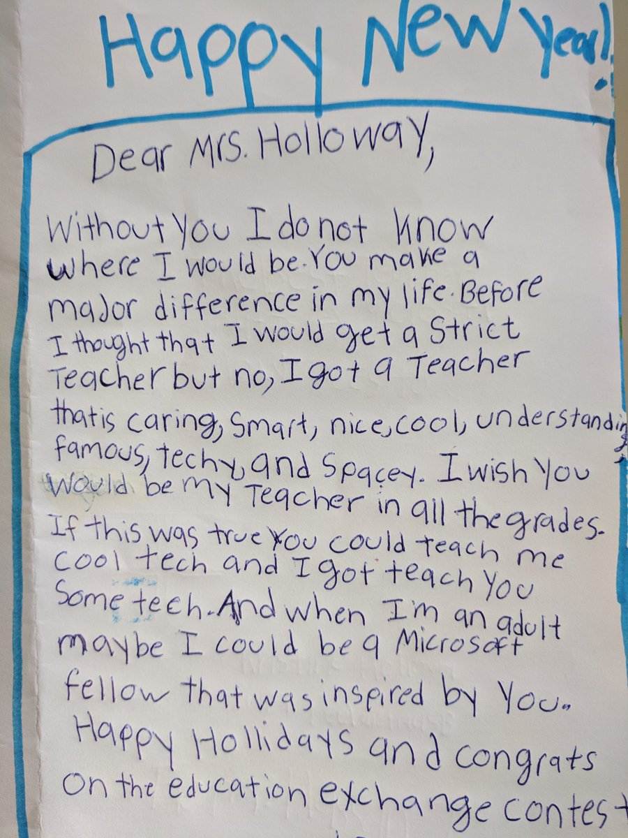 kristine holloway on twitter a happy new year card made by a student in my class he was rooting for me and watching the draw for the microsofteduca e2