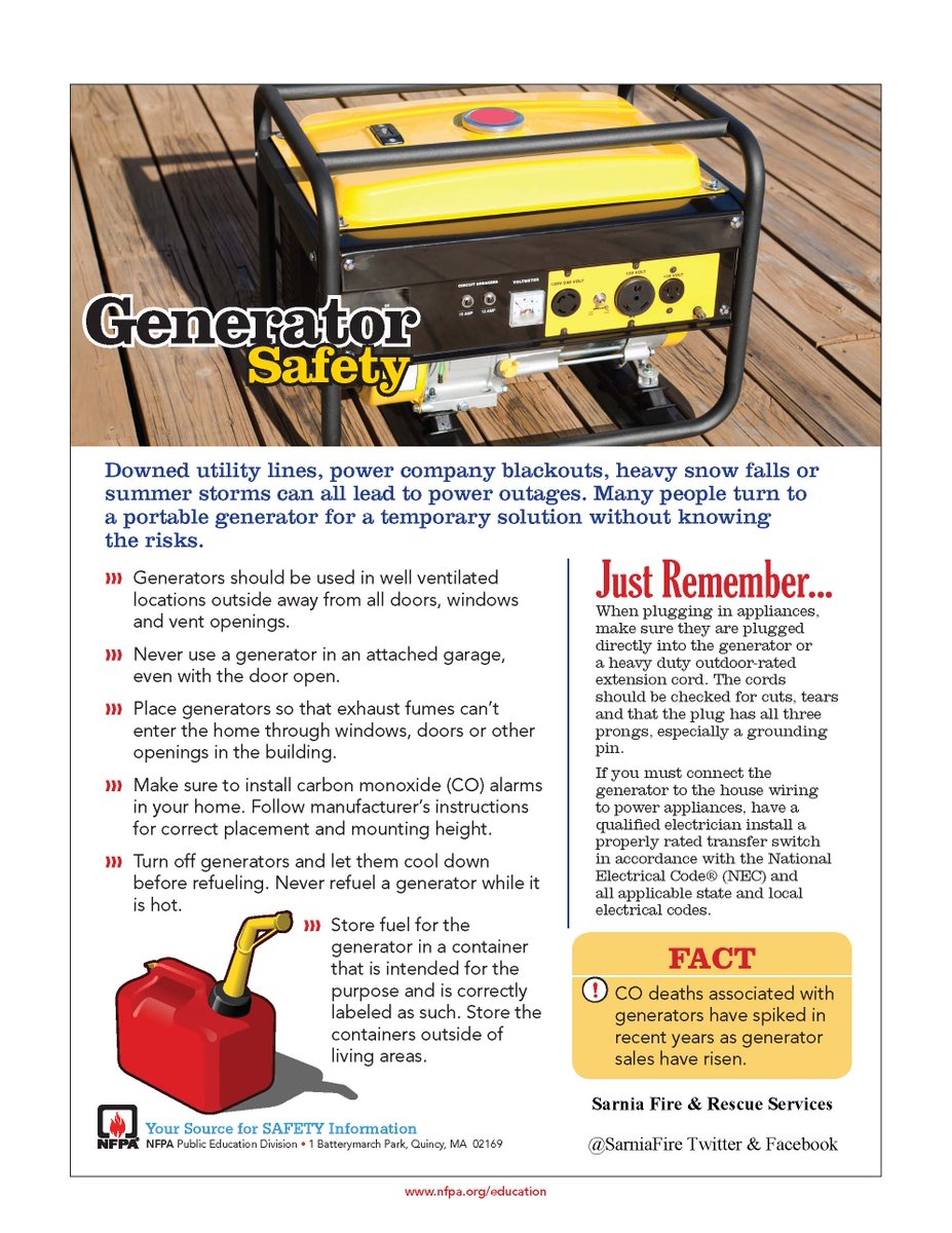 Sarnia Fire Rescue On Twitter Some Generator Safety Tips From House Wiring Nfpa Never Run A Inside Of Home Or Garage