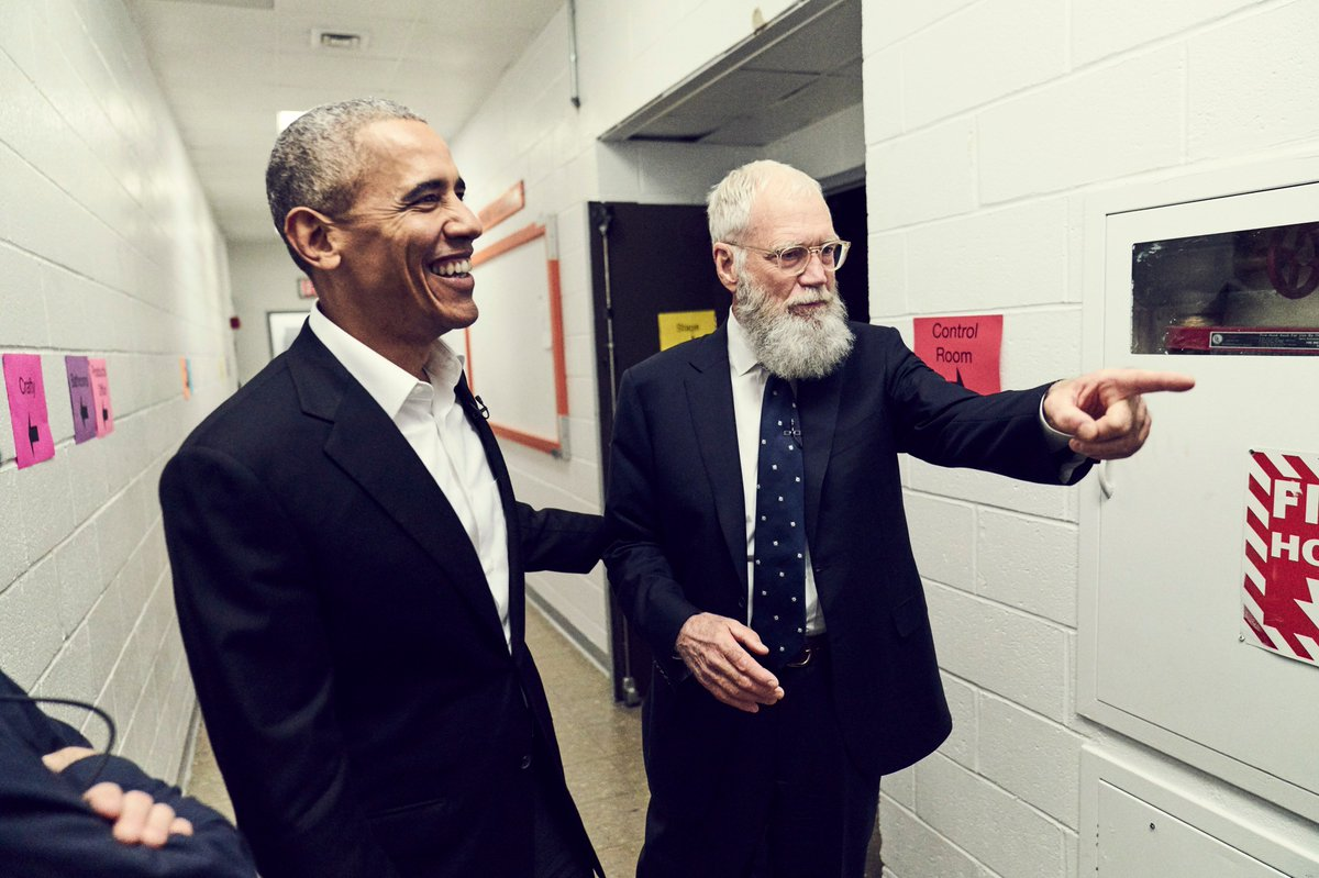 Inbox: President Barack Obama will be Letterman's first guest on his new Netflix talk show January 12. Obama's first television talk show appearance since leaving office. (Netflix handout photo)