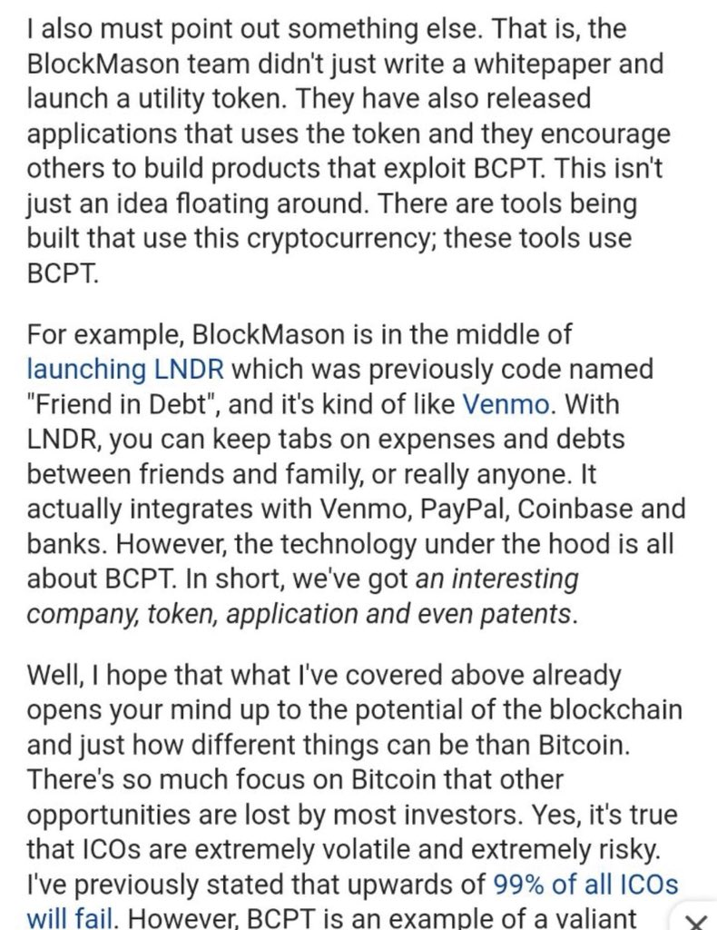 ... integrate with Paypal, Venmo, and Coinbase. It's a $125 coin at a $5B  Market Cap. #SleepingGiant #BCPT #Paypal #Venmo #Blockmason #Cryptocurrency  #BTC ...