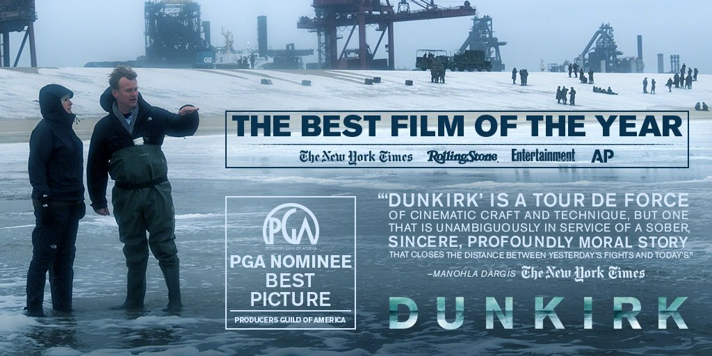 #Dunkirk has been nominated for a #PGAAwards Best Picture - Produced by Emma Thomas and Christopher Nolan. Congrats to all. https://t.co/XDjkQRIF1B