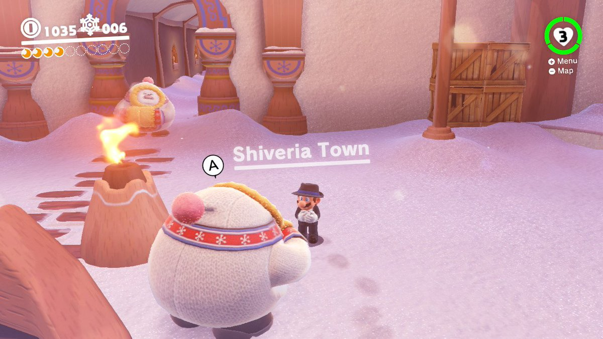 These guys must have bought their scarves from North Korea. That's pretty much their flag on it! #SuperMarioOdyssey #Nintendo #NorthKorea