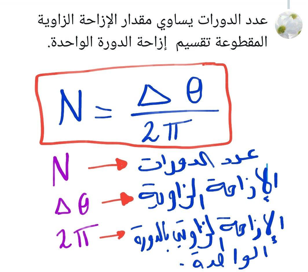 كاملة محمد السعيدي On Twitter عدد الدورات يساوي مقدار الإزاحة الزاوية المقطوعة تقسيم إزاحة الدورة الواحدة فيزياء12ك1 مسائل مهم ديناميكا الدوران Https T Co Rpk6j08mpa