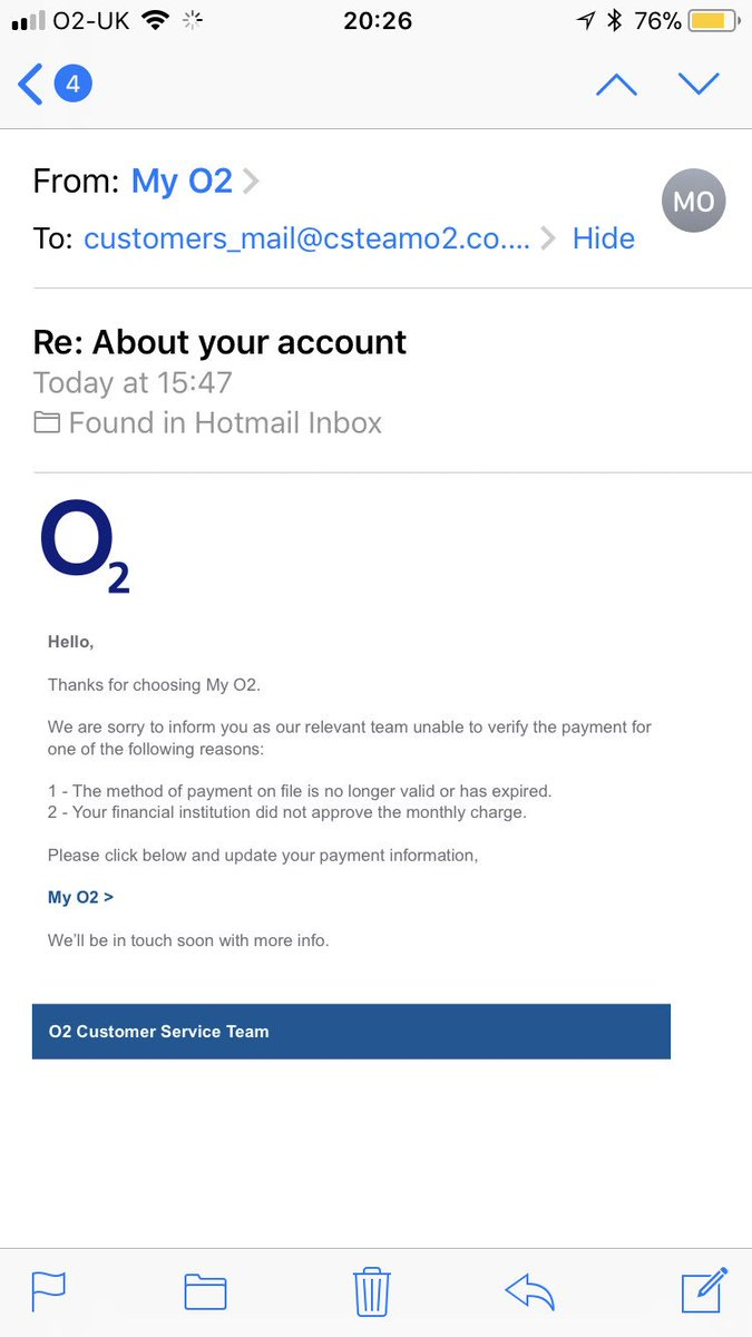 O2 In The Uk On Twitter Thanks For Raising This With Us Rob Please Forward The Email To Phishing O2 Com And Head Here Https T Co Vmqqvtdedq For More Information On Emails Like This Https T Co Zaepr0alwk