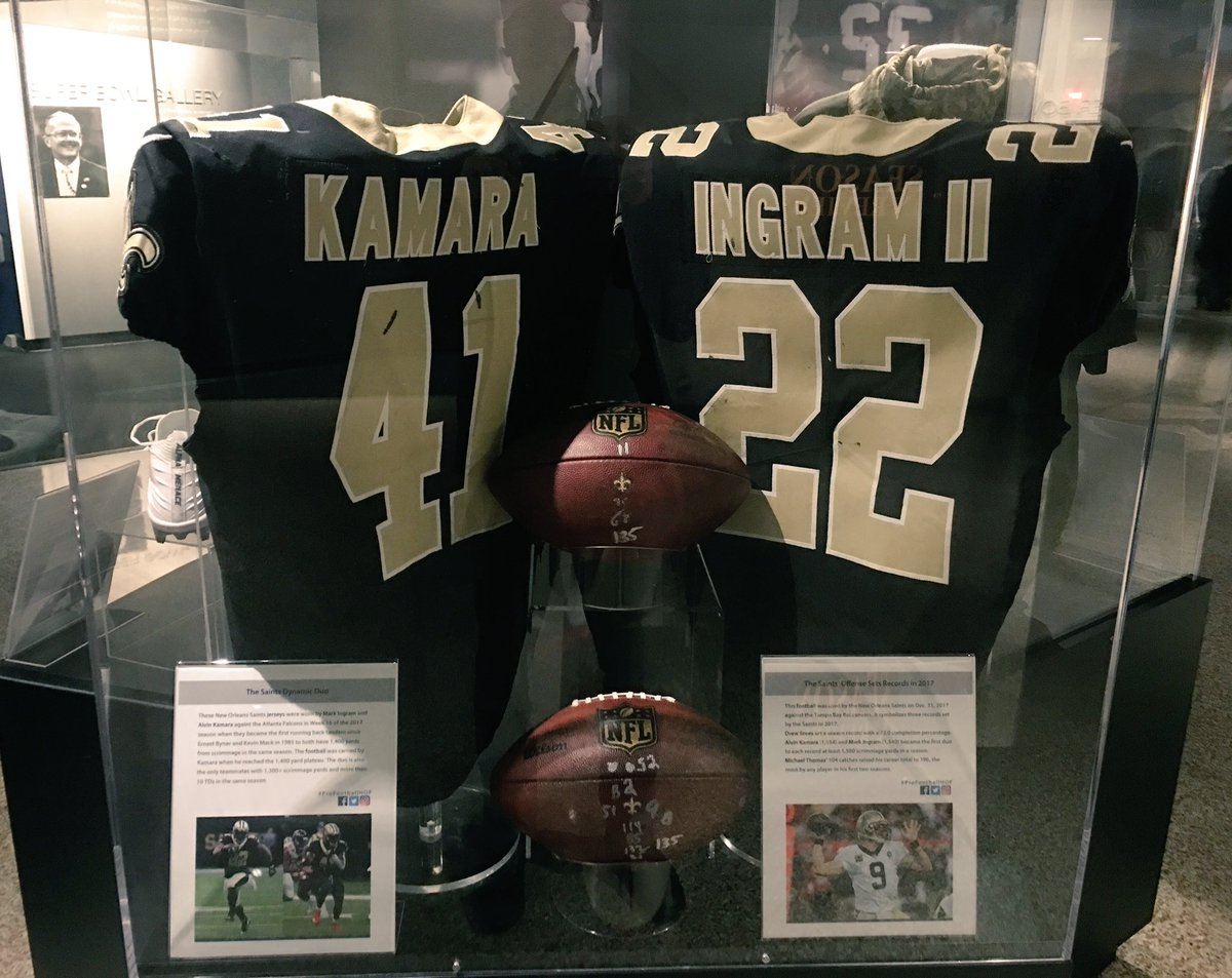 Now on display: jerseys of @Saints RBs @MarkIngram22 &  fro@alvinkamaram Week 16 when they became 1st RB tandem since 1985 to both have 1,400 scrimmage YDS in same season. Week 17, became 1st RB duo in  his@NFLtory to each record at least 1,500 scrimmage YDS in same season.