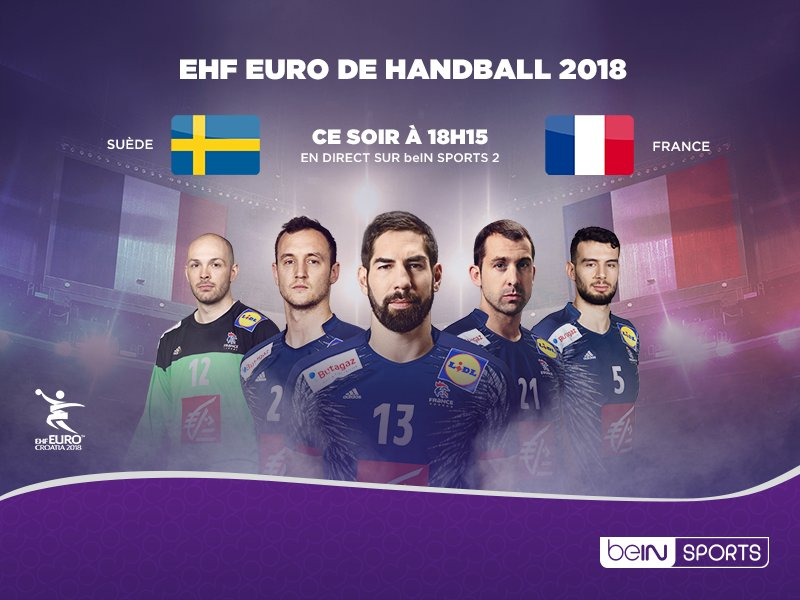 RT @beinsports_FR: 🤾♂️  #HandAction 🏆 Euro 2018 🇸🇪🇫🇷 Suivez Suède - France à 18H15 en direct sur beIN SPORTS 2 ! https://t.co/IeVCrCB7wg