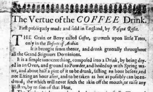 """""""The Vertue of the COFFEE Drink"""": An Ad for London's First Cafe Printed Circa 1652 https://t.co/SwEEWd9MNZ"""