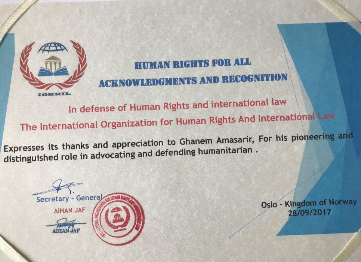 من مملكة النرويج: شهادة شكر وتقدير على جهود  #غانم_الدوسري  في الدفاع عن الإنسانية https://t.co/fh5hkAFbb7