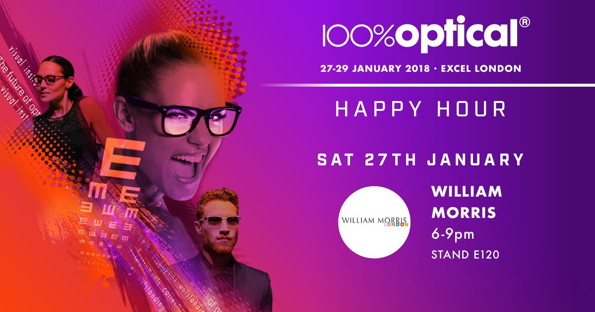 #WilliamMorrisLondon will be serving up refreshing Gin & Tonics from 6-9pm on Saturday 27th at stand E120 . Put it in your calendar and make sure you swing by and say hi! If you arent yet then register free now: bit.ly/2C8WZG1 #100Optical