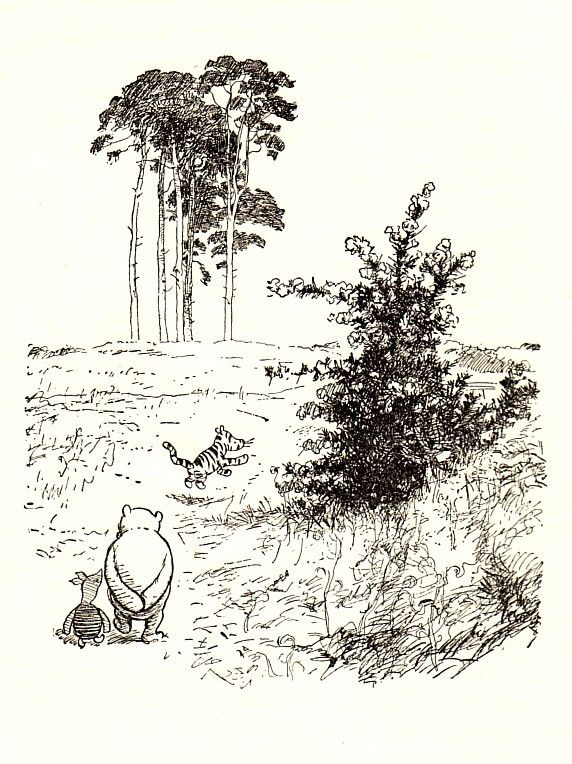 Having a stroll by E.H. Shepard in Winnie-the-Pooh: Exploring a Classic at the Victoria and Albert Museum