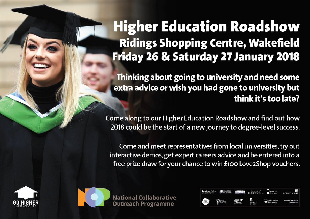 test Twitter Media - Thinking about going to university and need some extra advice or wish you had gone to university but think it's too late?  Join us @ridingscentre (middle mall) in Wakefield 26th/27th Jan. Find out how 2018 could be the start of a new journey  Info: https://t.co/Yyq2hxTHlc #loveHE https://t.co/HIURQbwtyS