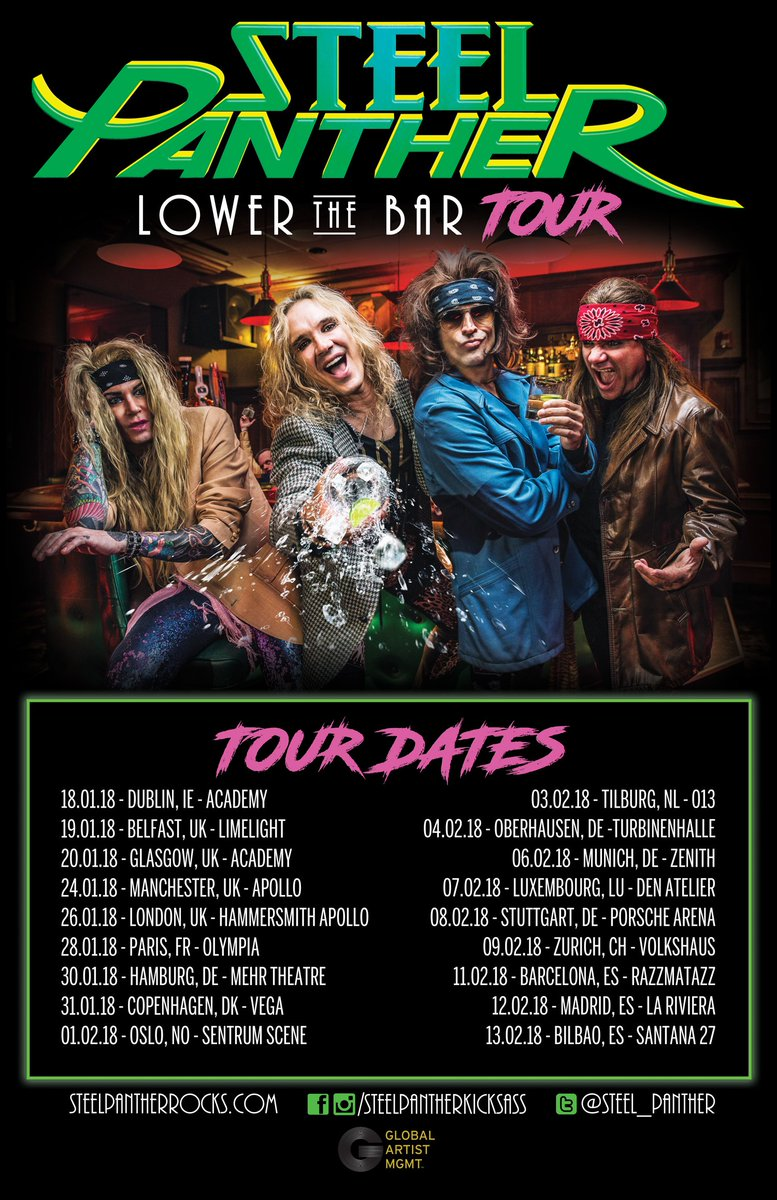 Just in case you are wondering what day it is.  It is not Thursday, it is #LowerTheBarTour Day.  #SteelPanther @Steel_Panther 🤘🤘🤘🤘