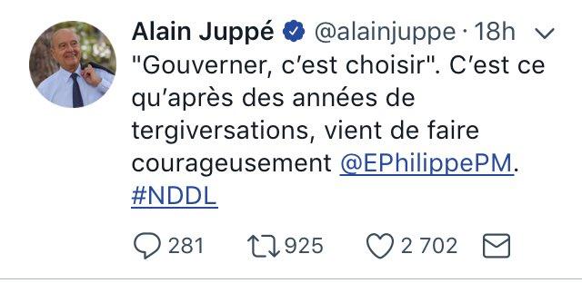 RT @Sisf94: Alain Juppé le même Homme mais un double Discours sur #NotreDamedesLandes ! #NDDL https://t.co/T71OX6Z5Rj