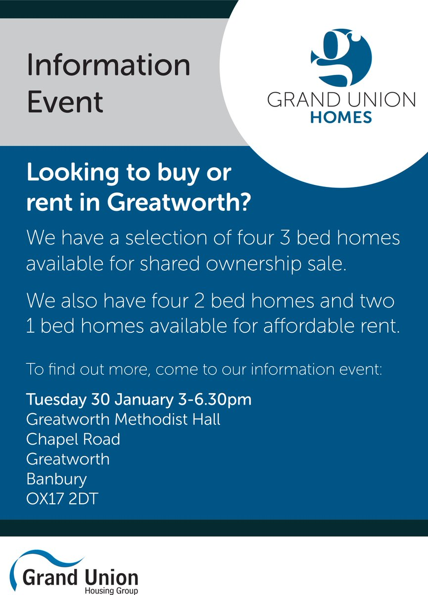 test Twitter Media - Looking to buy or rent in Greatworth?  We are holding an information event at Greatworth Methodist Hall on Tuesday 30 January from 3pm to 6.30pm, where you can find out all about the new shared ownership and affordable rent homes being built in the village. #webuild https://t.co/XqYZM1TTLB