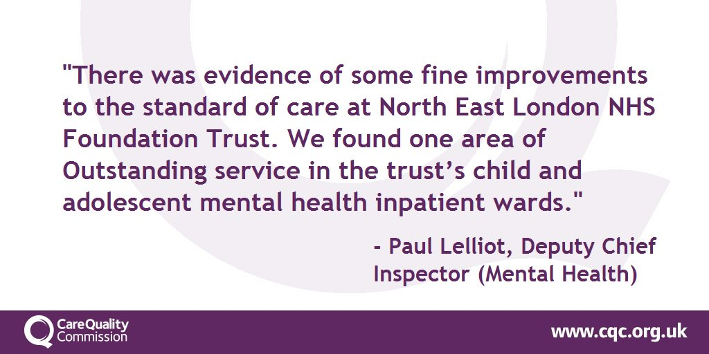 .@NELFT rated Good overall with Outstanding service in the trust's child and adolescent mental health inpatient wards: https://t.co/TcMJyGDhni