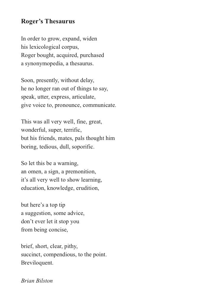 Brian Bilston On Twitter Its National Thesaurus Day Today