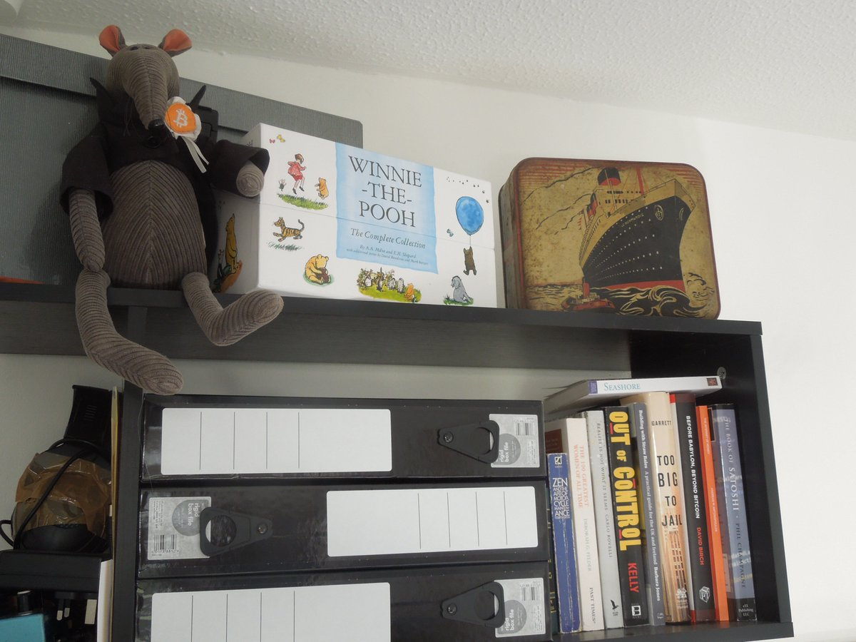 The Original Bitcoin Rat On Twitter Winnie Pooh Has Pride Of Place Rattys Bookshelf Even Above Fintech And Banking Stuff