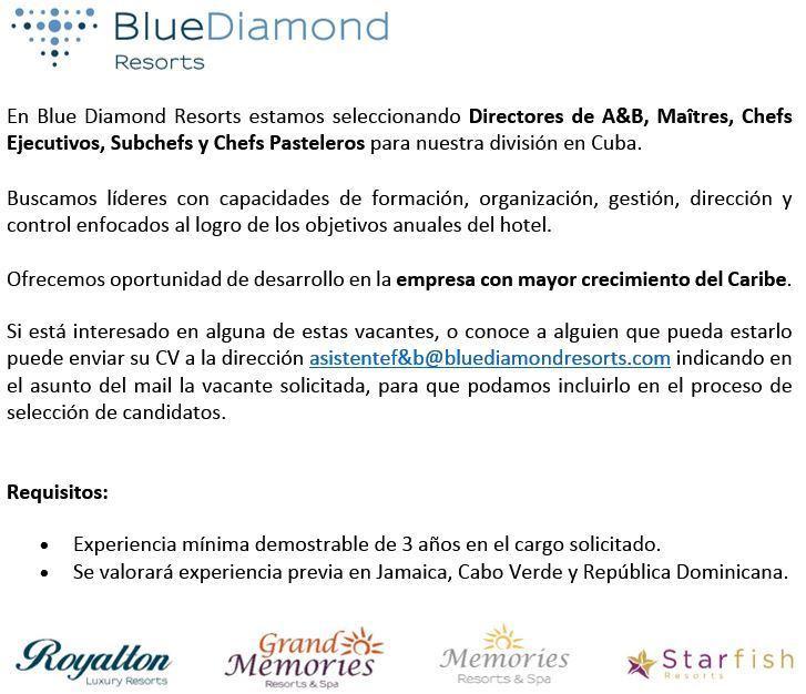 Mytouristjob على تويتر Quieres Trabajar En Cuba Blue Diamond