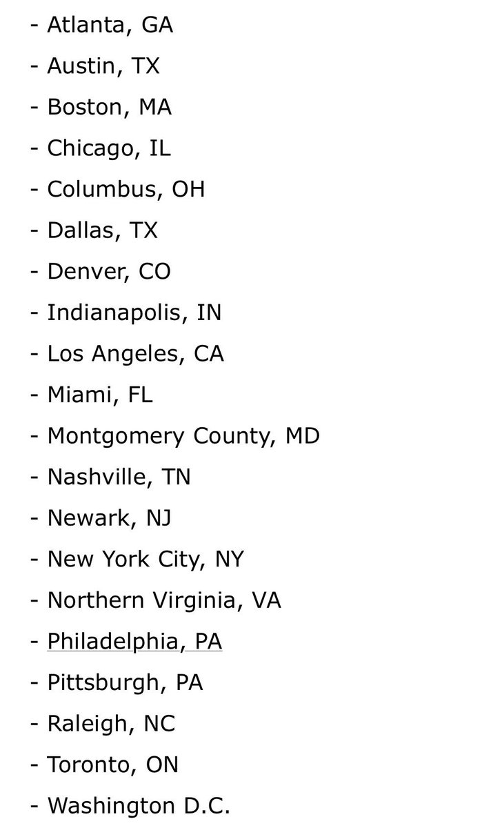 Amazon's list of finalists for #HQ2   @CNBC