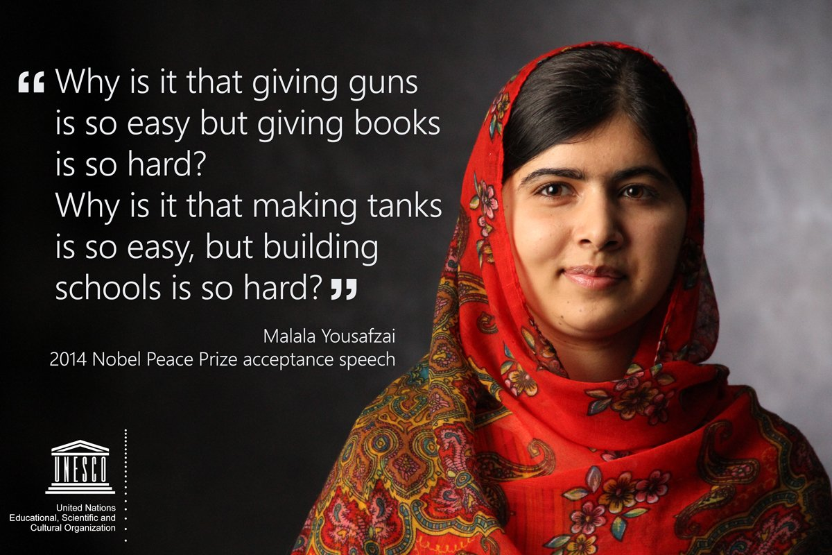 'Why is it that making tanks is so easy, but building schools is so hard?' - @Malala.   ℹ️ https://t.co/GIhDqdkLzJ #ThursdayThoughts #Education