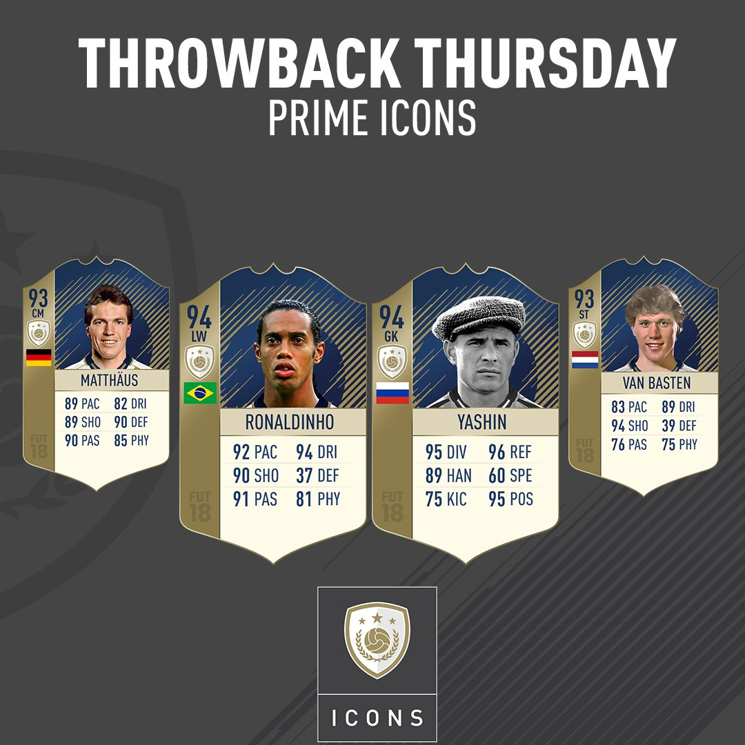 4 new Prime ICONS, 4 former Ballon d'Or winners! Available in packs and SBCs from 6pm UK.
