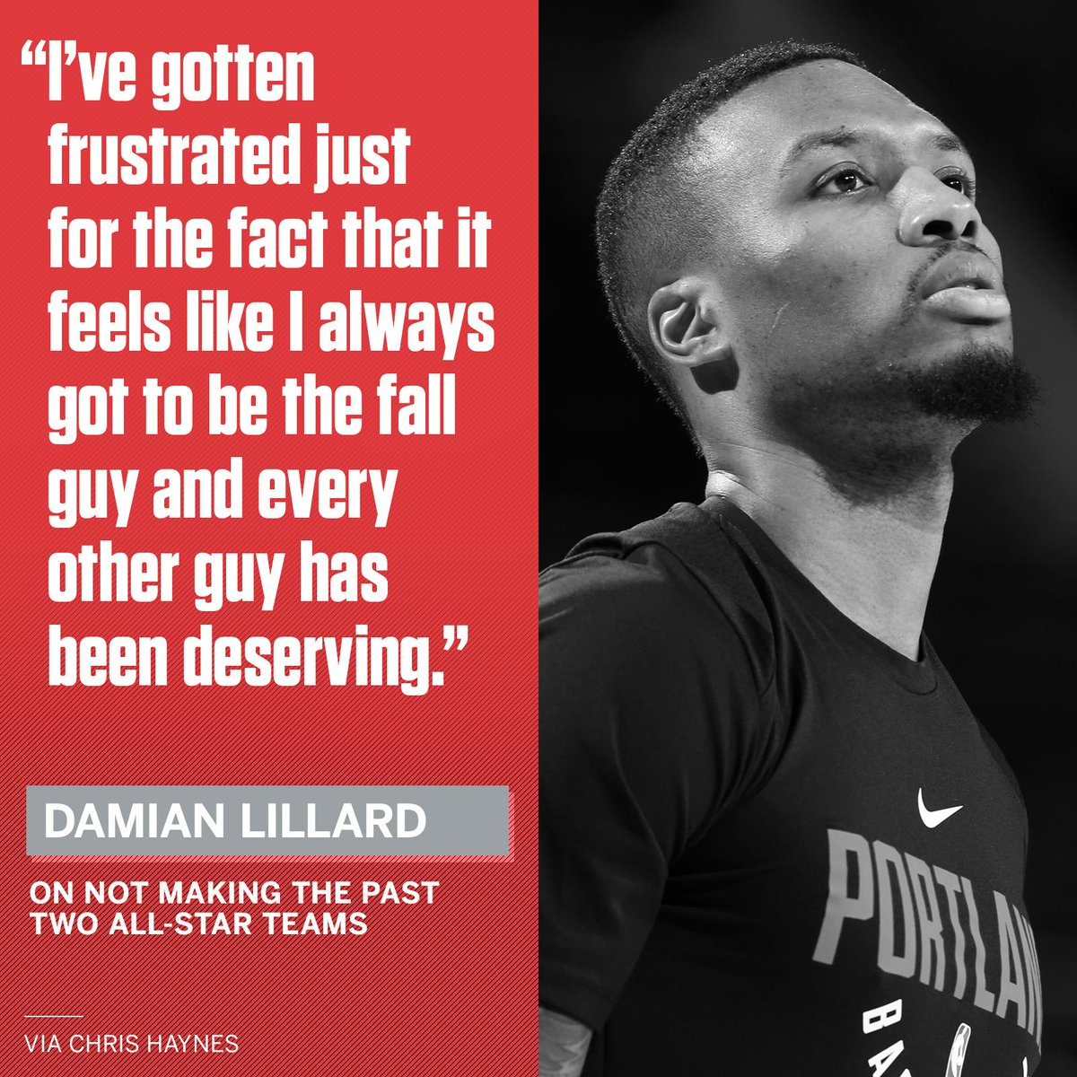 Damian Lillard, along with many others, believe his resume should have double the All-Star appearances.