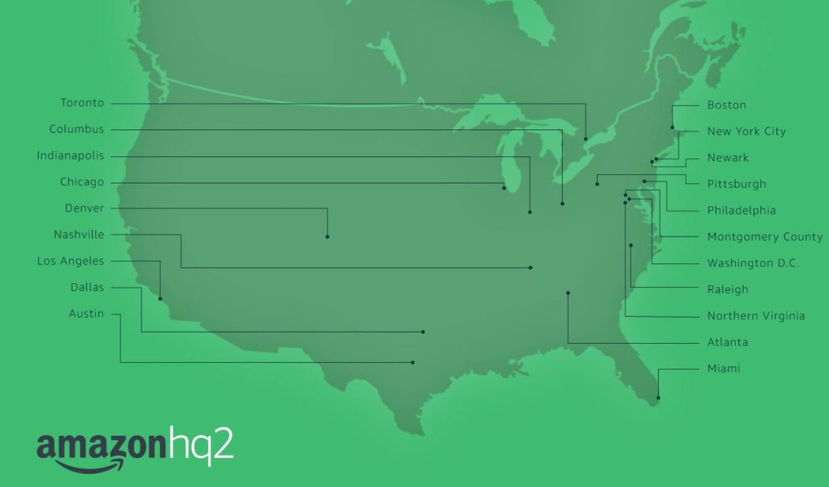 Amazon picks 20 finalists for 'HQ2' location: https://t.co/zS4XuxB9vg  -Atlanta -Austin -Boston -Chicago -Columbus -Dallas -Denver -Indianapolis -LA -Miami -Montgomery Co., MD -Nashville -Newark, NJ -NYC -Northern VA -Philadelphia -Pittsburgh -Raleigh -Toronto -Washington, DC