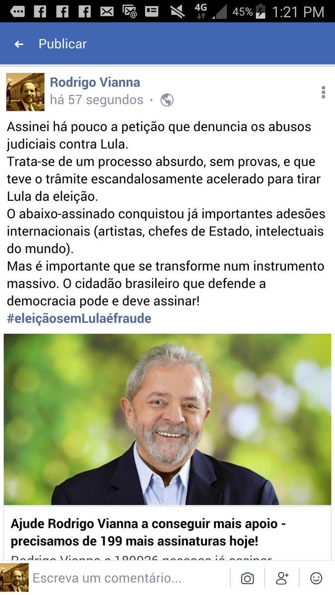 Ajude a denunciar ao mundo mais esse ataque à Democracia no Brasil. Vivemos desde 2016, após o golpe parlamentar/juridico/mídiatico,  num regime de semi-democracia. E agora querem tirar Lula da eleição, na marra! https://t.co/A669DKbz4T