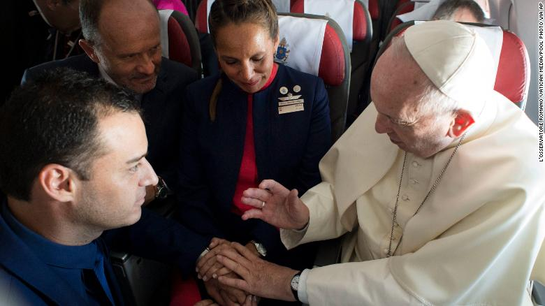 A man, a woman, and the Pope walk onto a plane...   Pope Francis marries two flight attendants in impromptu ceremony aboard the papal plane https://t.co/nmoXk6XpVE