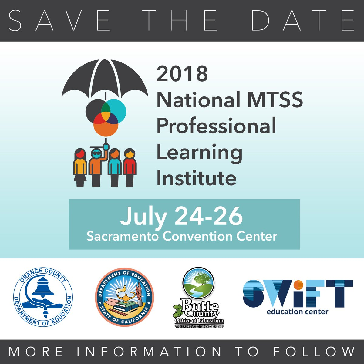 Save the date for the 2018 National MTSS Professional Learning Institute in Sacramento, CA: July 24-26.
