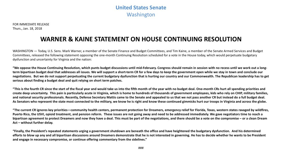 .@timkaine and I agree: another short-term continuing resolution, which punts budget discussions until mid-February is bad for Virginia and bad for our country. We will not perpetuate the current budgetary dysfunction that is hurting our country and our Commonwealth.