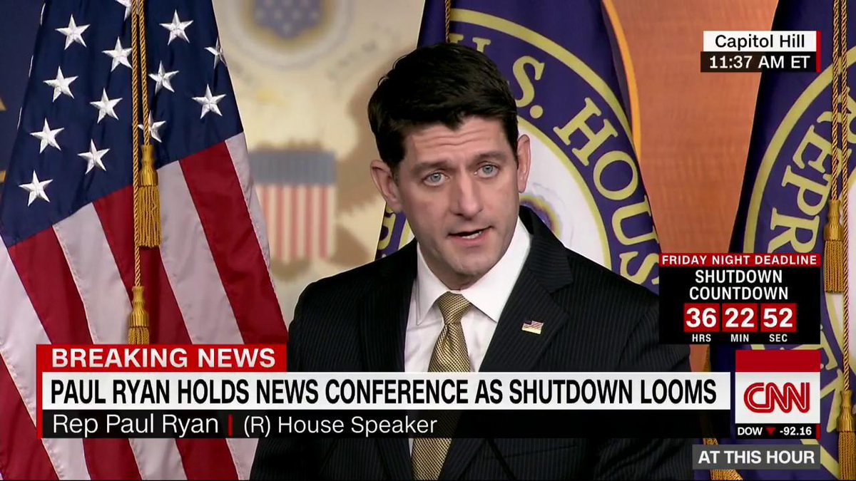 House Speaker Paul Ryan is holding a news conference as a government shutdown looms.  Watch on CNN: https://t.co/UYpqI3w42L Live updates: https://t.co/bcesOtJKfm