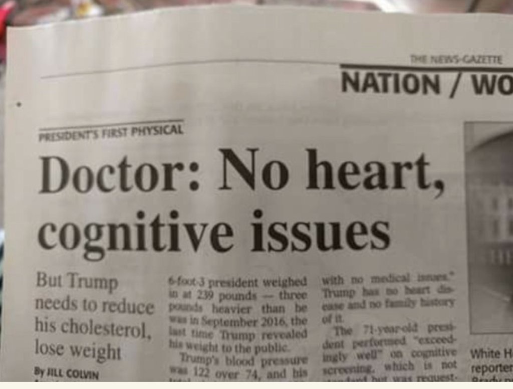 I collect ambiguous headlines. This one, on our President's health, is among the best.