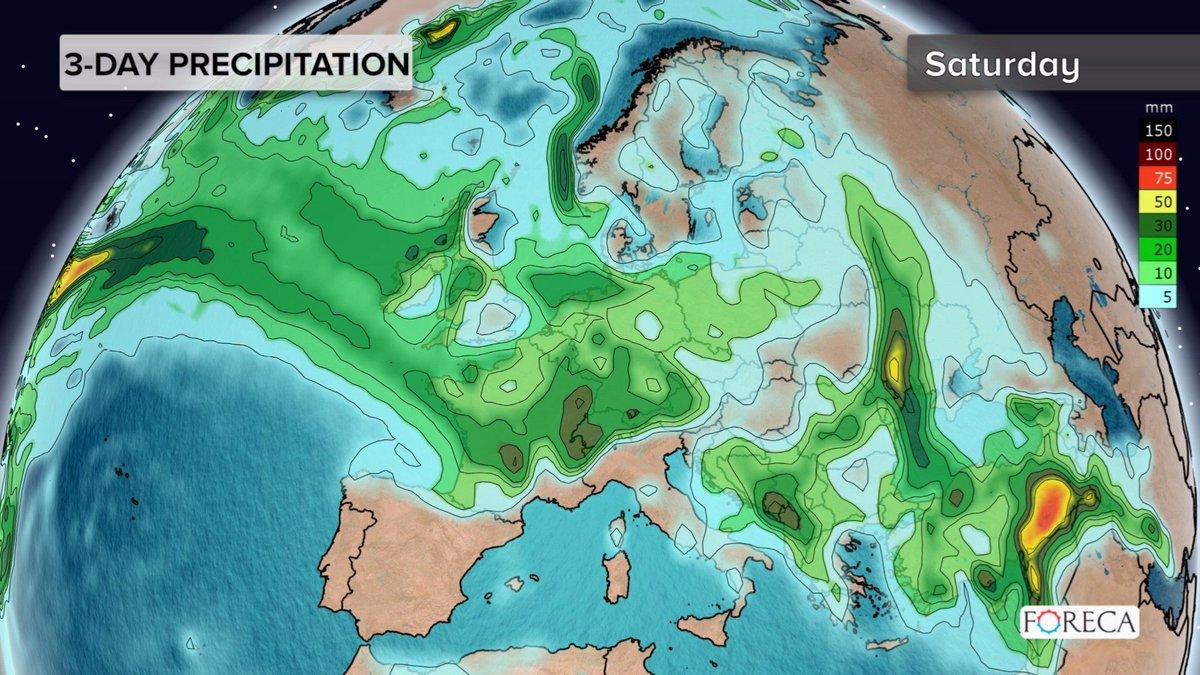 Precipitation Map Europe.Foreca On Twitter 3 Day Precipitation Map For Europe Unsettled