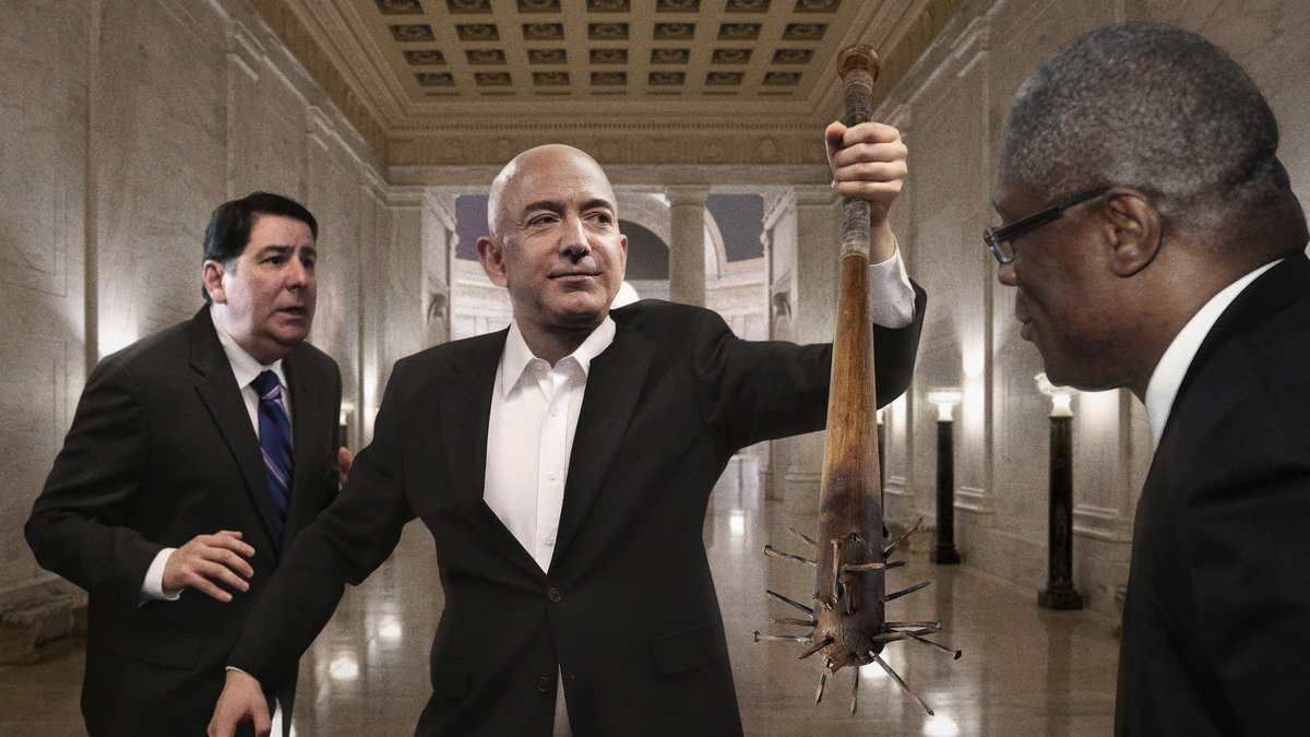 Jeff Bezos Just Tossed A Nail-Studded Baseball Bat On The Floor Between The Mayors Of Pittsburgh And Kansas City And Asked Who Really Wants The Second Amazon HQ https://t.co/Tm0ruA85UV