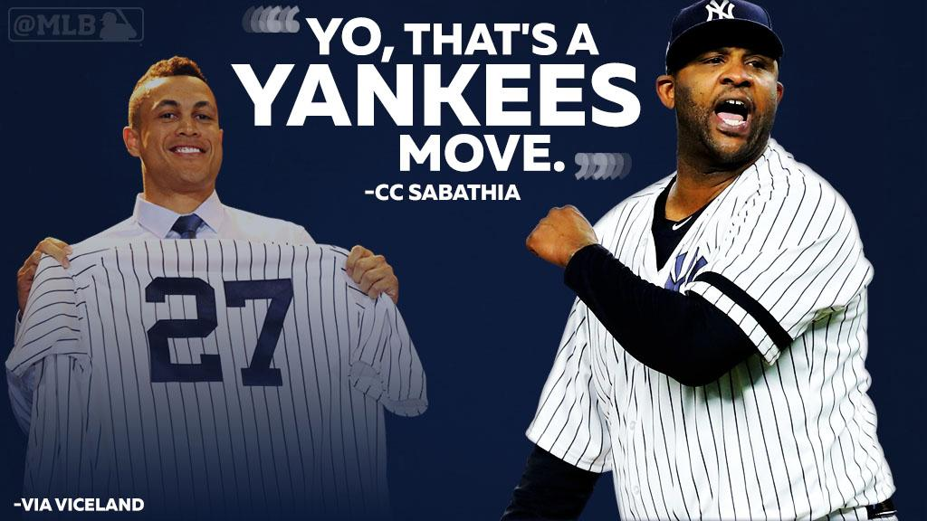 .@CC_Sabathia was pumped when he heard about the Stanton deal.