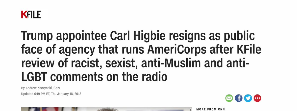 BREAKING Trump appointee @CarlHigbie has resigned after I asked for comments on racist, anti-gay, anti-Muslim, and sexist comments he made on the radio.  https://t.co/MWhCJiafbO