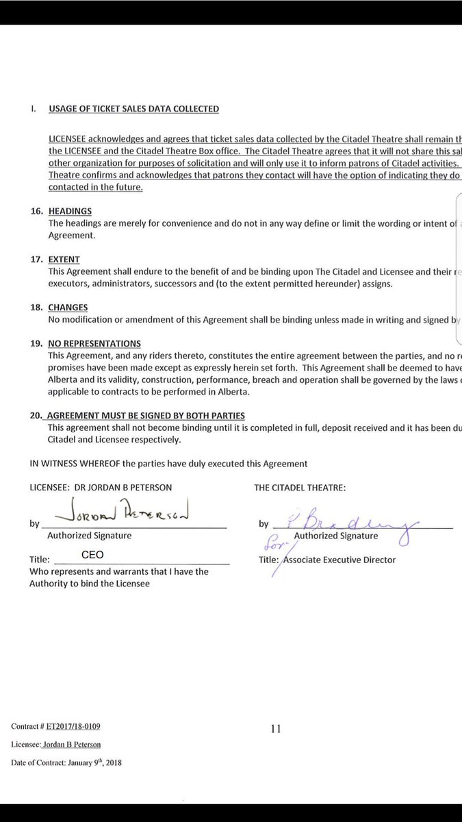 Jordan B Peterson On Twitter Here Is My Signed Contract With The