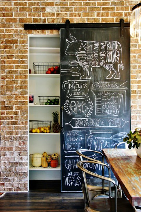 #BarnDoorIdeas  Chalkboard Barn Door  Cover your pantry with a chalkboard barn door—it's the perfect spot to write a dinner menu, or to keep a grocery list for the whole family.  #HomeDecor #DecorTips #HomeInterior #HomeDesign
