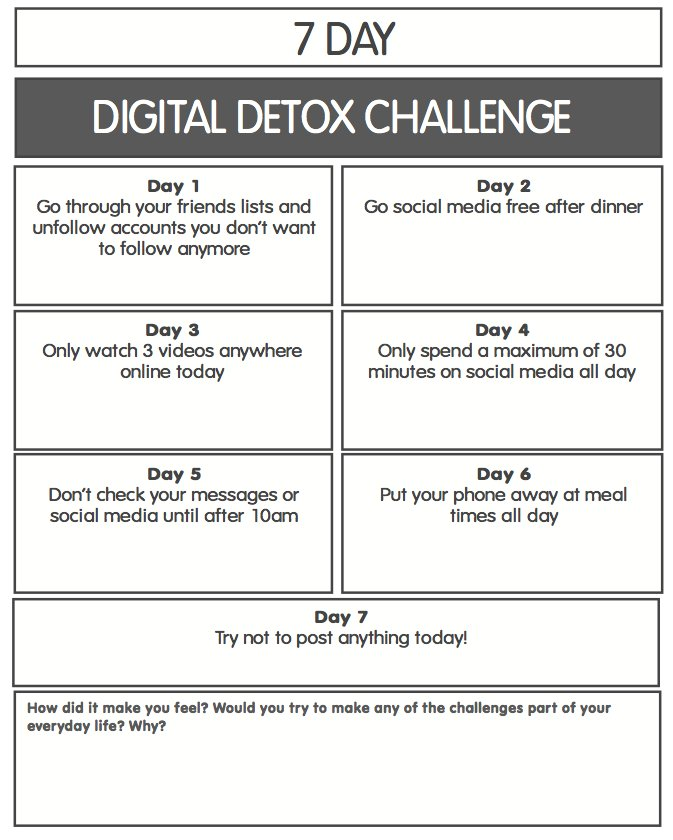 Digital Detox Challenge - Would this help your teenager to reflect on their time Online connecting with others? @SouthbankSchool @mrkempnz