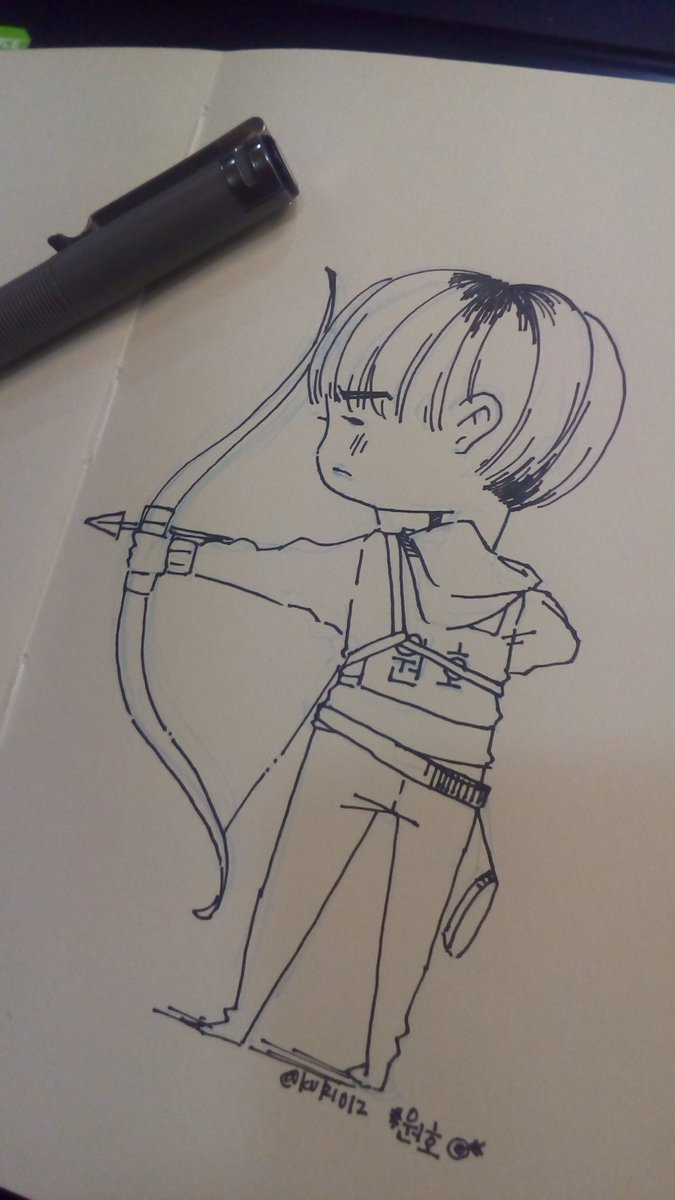 Quick office doodle. 🎯🎯💕  #WONHO #원호 #MO...