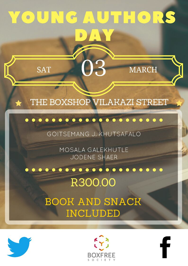 Ladies and gentlemen the price for the #BoxfreelosophyChats is finally out. Each ticket costs R300.00 and includes a book and a snack. The theme will be &#39;Young Authors Day&#39; and will feature speakers Goitsemang Khutsafalo, @jodenecoza and Mosala Galekhutle  #entrepreneurs #authors<br>http://pic.twitter.com/Xen98T38NB