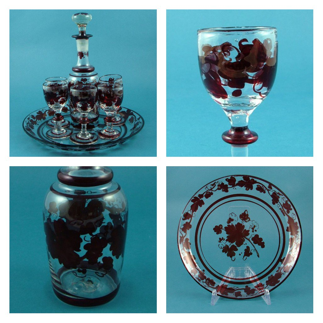 #FridayFeeling is nothing but love for this late C.18th #decanter and #glasses set with original tray. Crudely made and full of flaws - adds to the charm!   #followvintage #eshopsuk #georgian #cordial #grapevine #dontmakethemliketheyusedto <br>http://pic.twitter.com/7AkdlLBRuI