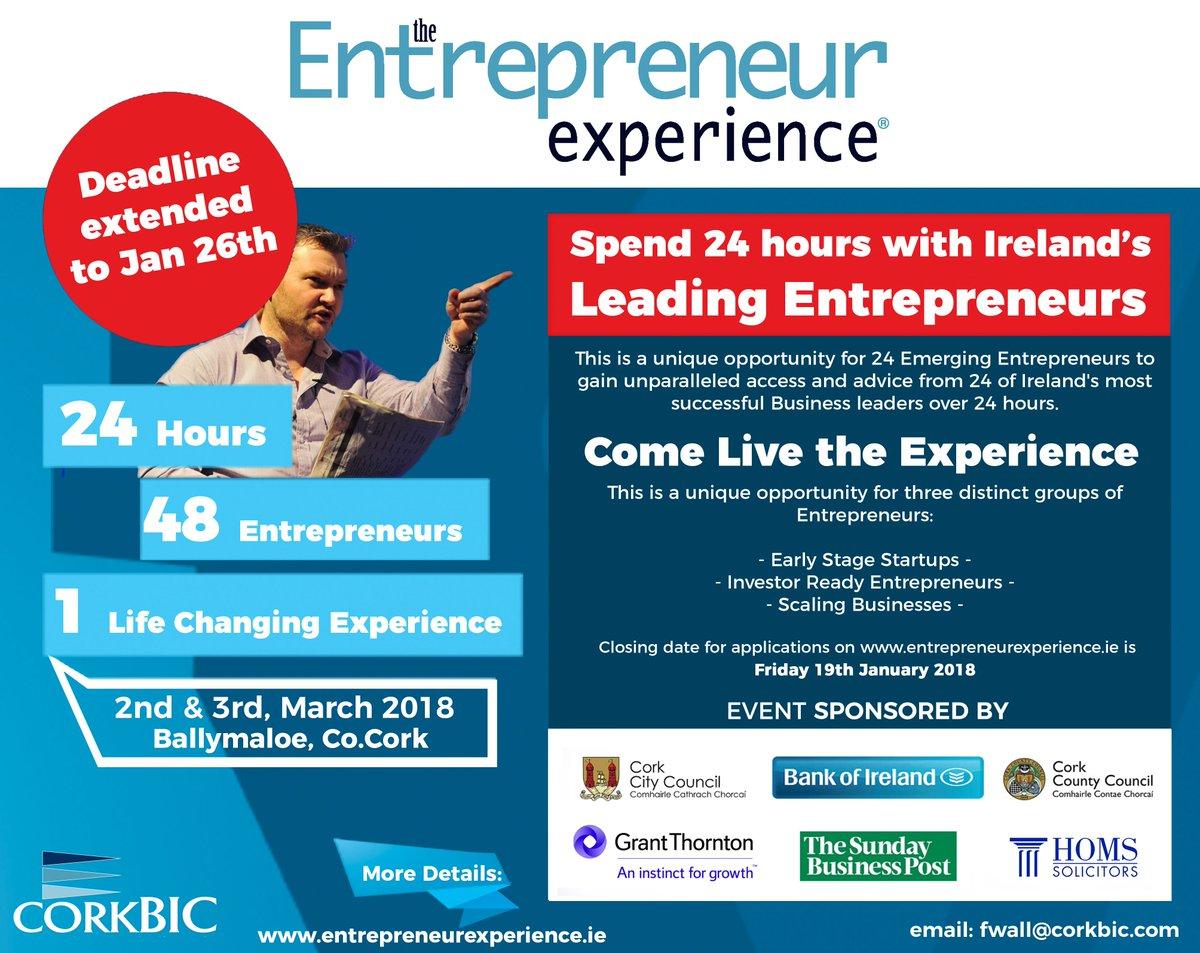 Deadline EXTENDED for 1 week ONLY for Applications #Startups #Entrepreneurs #SMEs Spend 24 hours with some of Ireland&#39;s Business Leaders &amp; gain invaluable advice &amp; mentoring  http://www. entrepreneurexperience.ie  &nbsp;   #EntExp24 Apply before Jan 26<br>http://pic.twitter.com/xY1V82ftVa