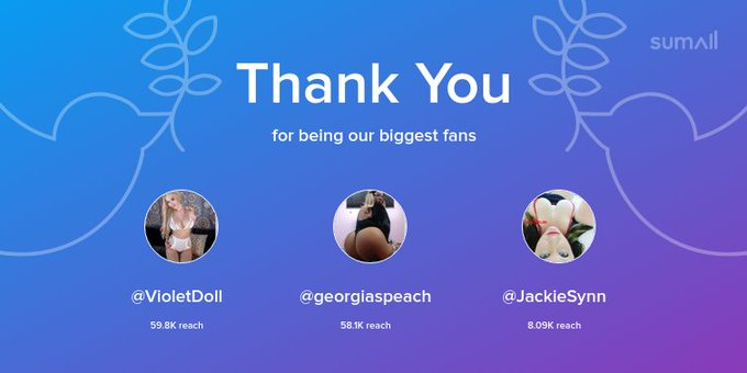 Our biggest fans this week: @VioletDoll, @georgiaspeach, @JackieSynn. Thank you! via https://t.co/Zrh88qn47t