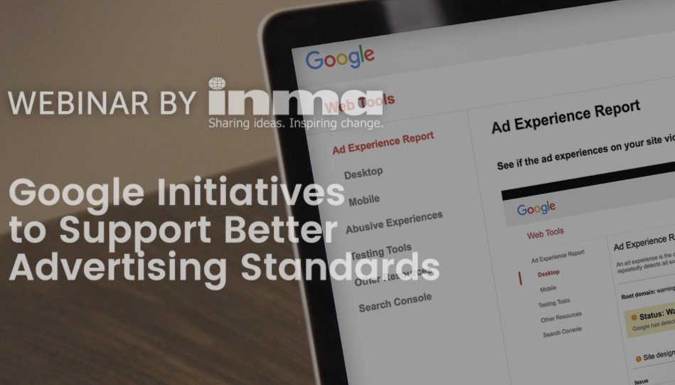 Upcoming INMA Webinar: Google initiatives to support better advertising standards https://t.co/UGiO4b6z2v https://t.co/tbbFz56TWl